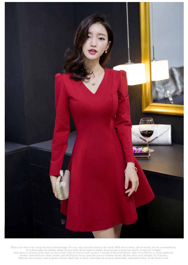 ชุดเดรสทำงานแฟชั่นเกาหลีสีแดงแขนยาวมีซิบหลังกระโปรงบานราคาถูก
