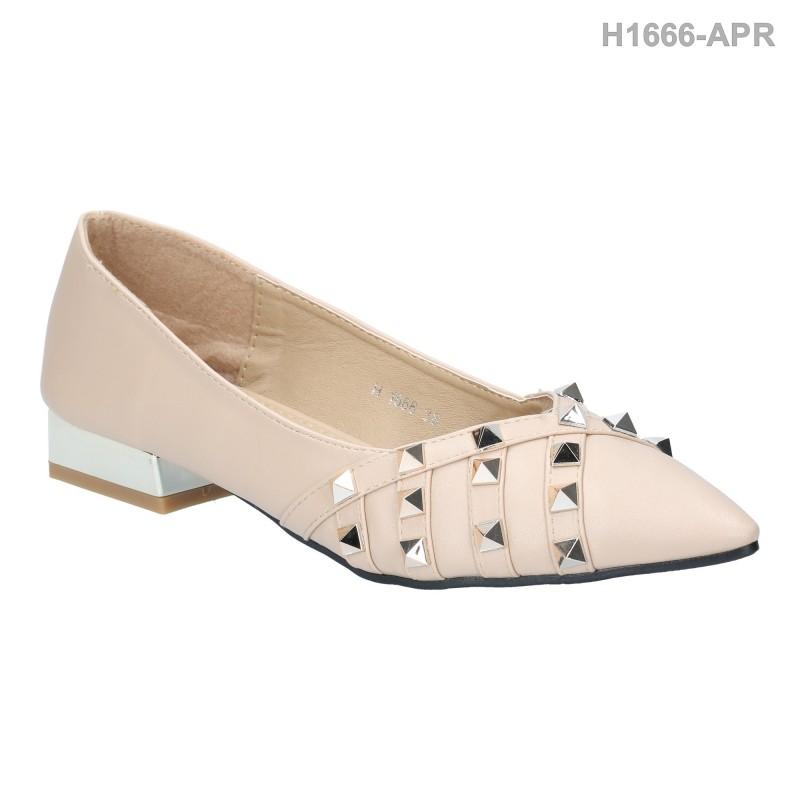 รองเท้าคัทชู ส้นเตี้ย หัวแหลม ประดับหมุด (สีแอปริคอท )