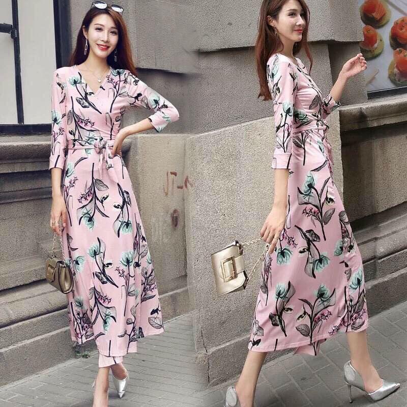 MD0013 เสื้อผ้าแฟชั่นเกาหลี เดรสเกาหลี เดรสยาว เดรสแฟชั่น แม็กซี่เดรส Maxidress ลายดอก Maxi Dress (สีชมพู)