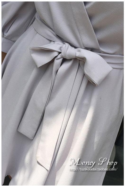 รับตัวแทนจำหน่ายชุดเดรสแฟชั่นเกาหลีสีเทากระโปรงบานเข้ารูป