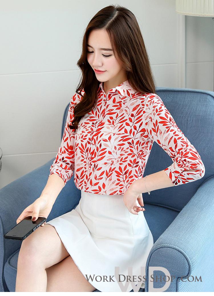 Pre-order เสื้อทำงาน คอปก แขนยาว พิมพ์ลายใบไม้สีแดงสวยงาม