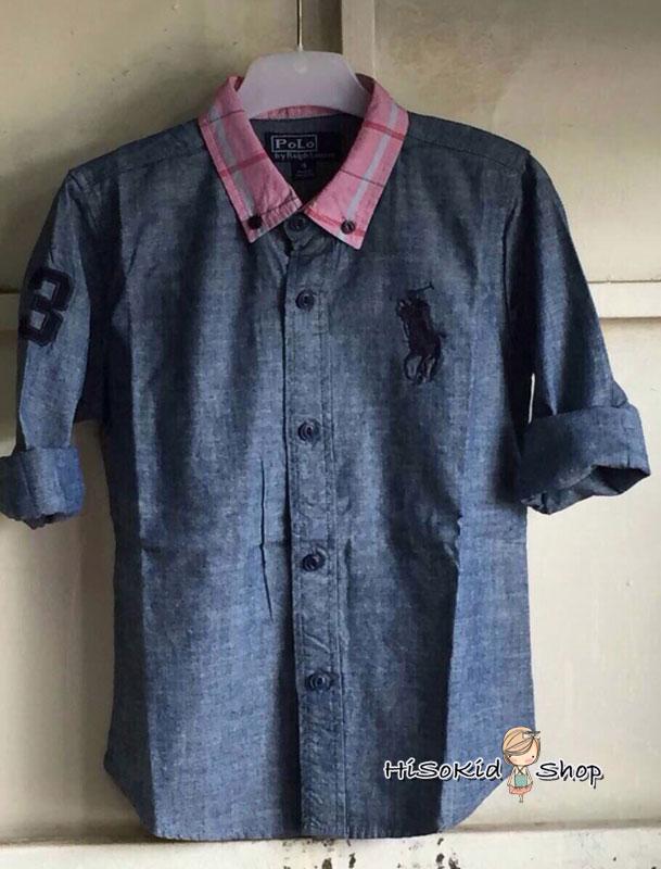1006 Polo Ralph Shirt เสื้อเชิ้ตสียีนส์ ปักโลโก้ม้าสีกรมท่า ขนาด 6,8 ปี