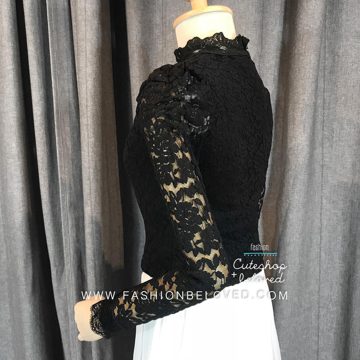 เสื้อลูกไม้สวยๆ แฟชั่น สีดำ แขนยาว เสื้อลายลูกไม้ใส่ออกงานกับผ้าถุง ผ้าซิ่นได้