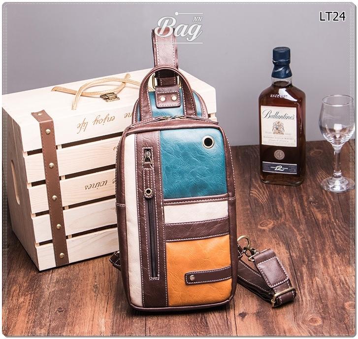 กระเป๋าสะพายไหล่ กระเป๋าคาดอก หนัง PU 4 สี เขียว ครีม เหลือง น้ำตาล | LT24