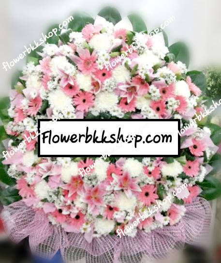พวงหรีดดอกไม้สด รหัส WWR04