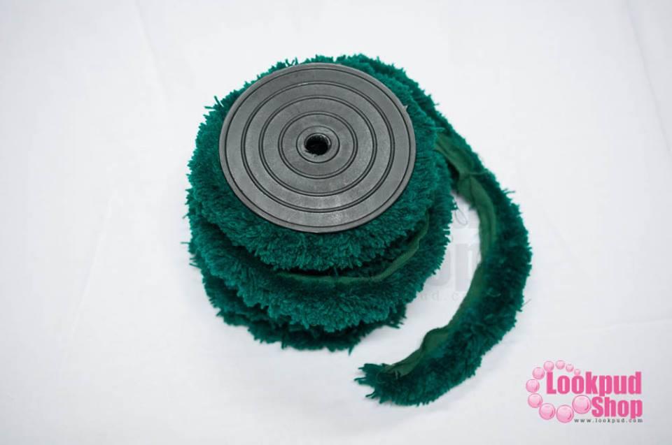 พู่ไหมพรม หางกระรอก สีเขียวเข้ม กว้าง 4ซ.ม(1หลา/90ซ.ม)