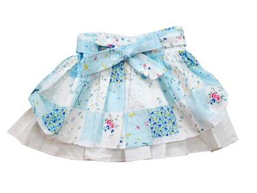 KGSK271 Kidsplanet กระโปรงสาวน้อยจีบรอบระบายสองชั้น คาดเข็มขัดผ้าผูกโบว์ ลายดอกไม้สีฟ้า สวยหรูมากค่ะ Size 12M