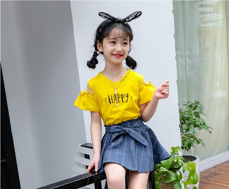 เสื้อ+กระโปรง สีเหลือง แพ็ค 5 ชุด ไซส์ 110-120-130-140-150 (เลือกไซส์ได้)