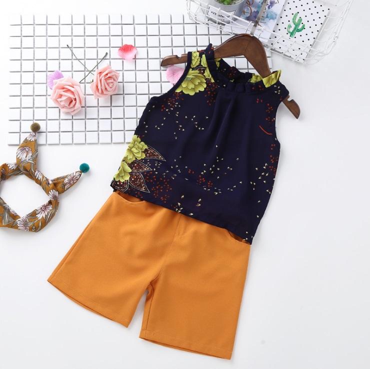 ชุดเซตเสื้อแขนกุดลายดอกไม้สีกรมท่า+กางเกงสีน้ำตาล แพ็ค 5 ชุด [size 2y-3y-4y-5y-6y]