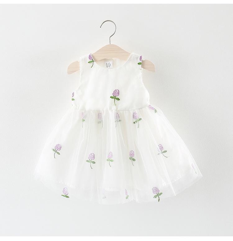 ชุดเดรสสีขาวปักดอกกุหลาบสีม่วง แพ็ค 3 ชุด [size 6m-1y-18m]