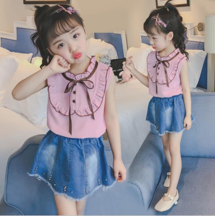 เสื้อ+กระโปรง สีชมพู แพ็ค 5 ชุด ไซส์ 120-130-140-150-160 (เลือกไซส์ได้)