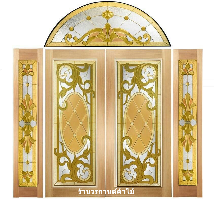 กระจกนิรภัยสเตนกลาส สีทอง ชุด 5ชิ้น รหัส G11