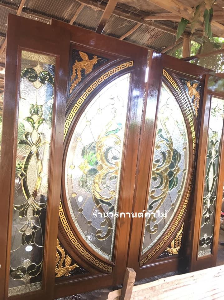 ประตูไม้สักกระจกนิรภัยแตงโมเต็มบาน ชุด4ชิ้น รหัสAAA109