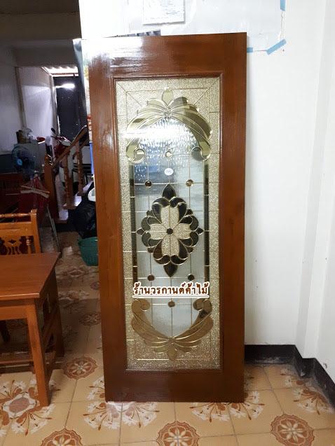 ประตูไม้สักกระจกนิรภัย เต็มบาน เกรด A,B+ รหัส A37