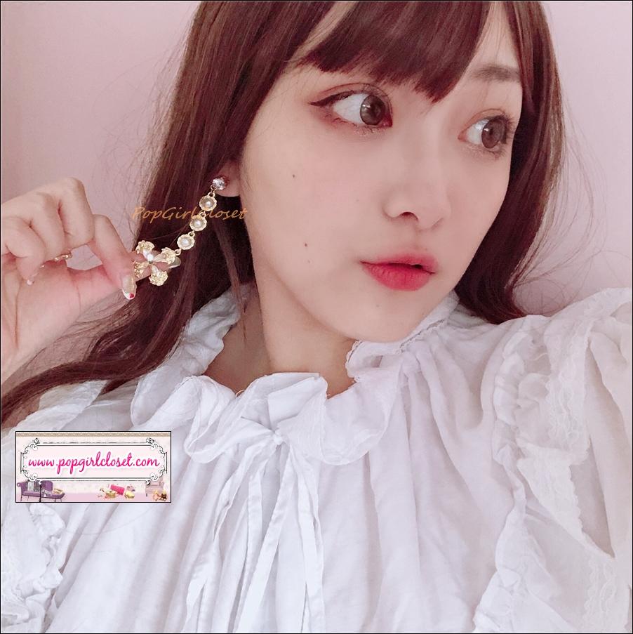 ต่างหูระย้าแฟชั่นสไตล์เกาหลี ดีเทลเส้นมุกห้อยไม้กางเขน Asymmetric Luxury Cross Charm Pearl Rhinestone Long Drop Dangle Korean Fashion Earring