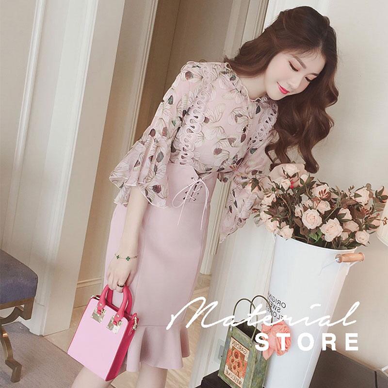 ชุดSet 2 ชิ้น เสื้อผ้าลายดอก สีชมพู