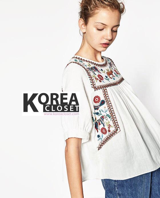 เสื้อแฟชั่น Zara Wild Animal Embroidery Top