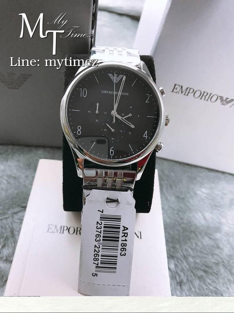 Emporio Armani Beta Chronograph Black Dial Stainless Steel Men's Watch - AR1863