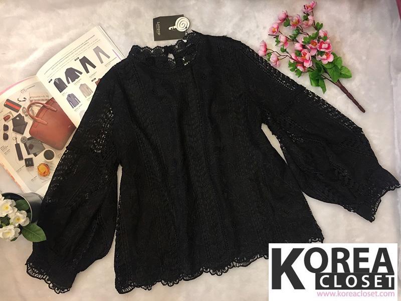 เสื้อแฟชั่น Balloon-Sleeve Embroidered top สีดำ
