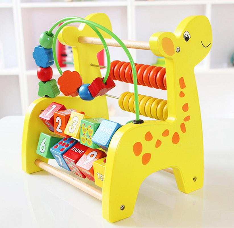 ของเล่นไม้กิจกรรม ลูกปัดไม้พร้อมลูกคิด