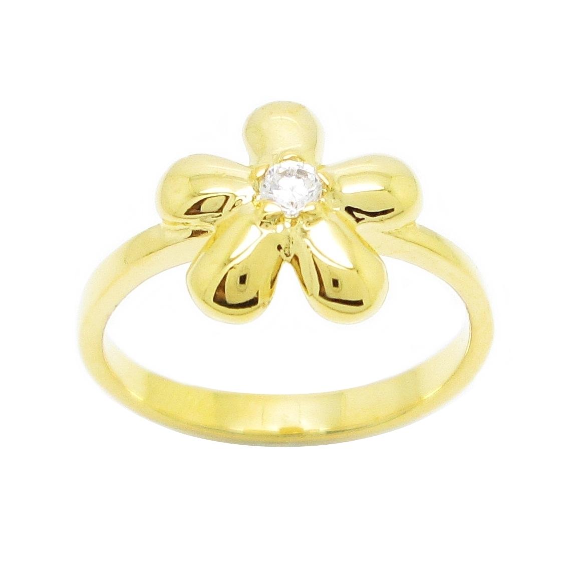 แหวนดอกไม้ประดับเพชรชุบทอง