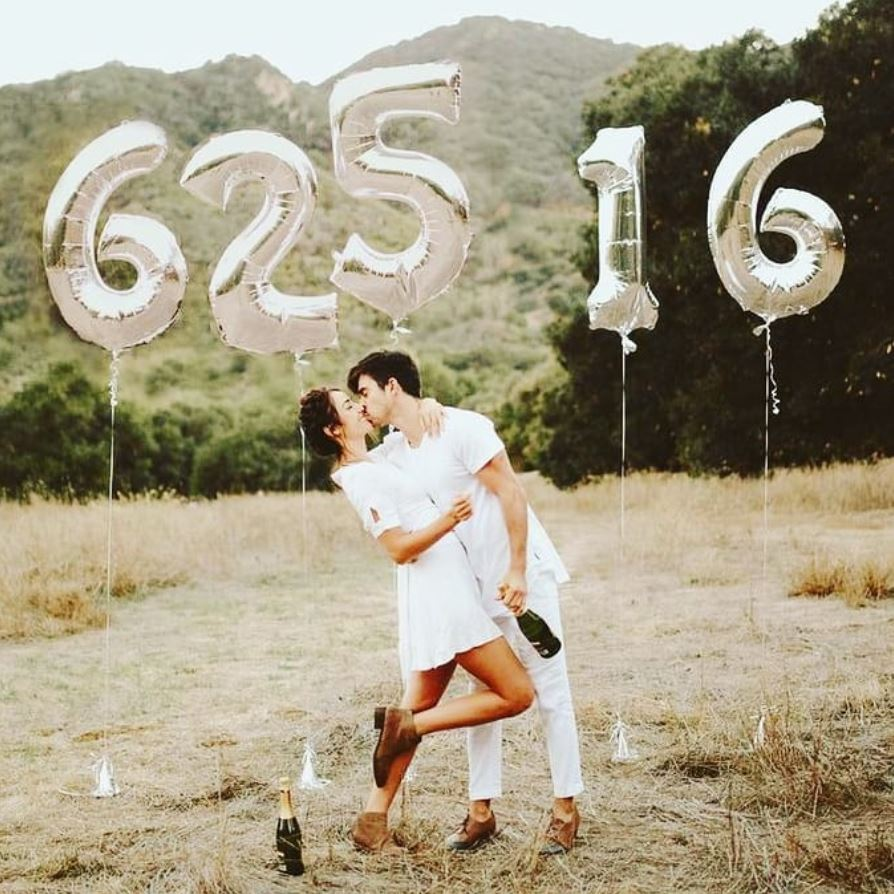 SAVE THE DATE Number Foil Balloons