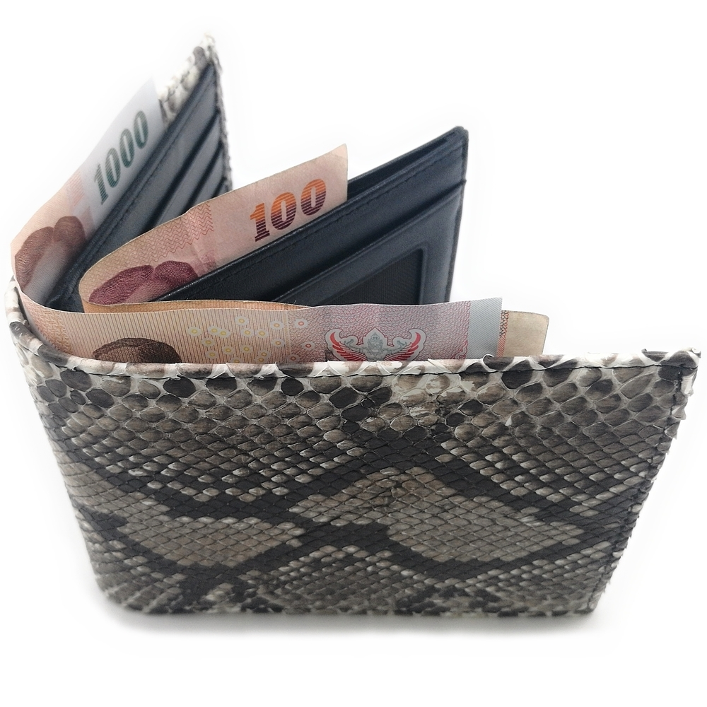 กระเป๋าสตางค์หนังงูสองพับสั้นดีไซน์มาใหม่ช่องใส่ธนบัตร 2 ช่องแยกกัน