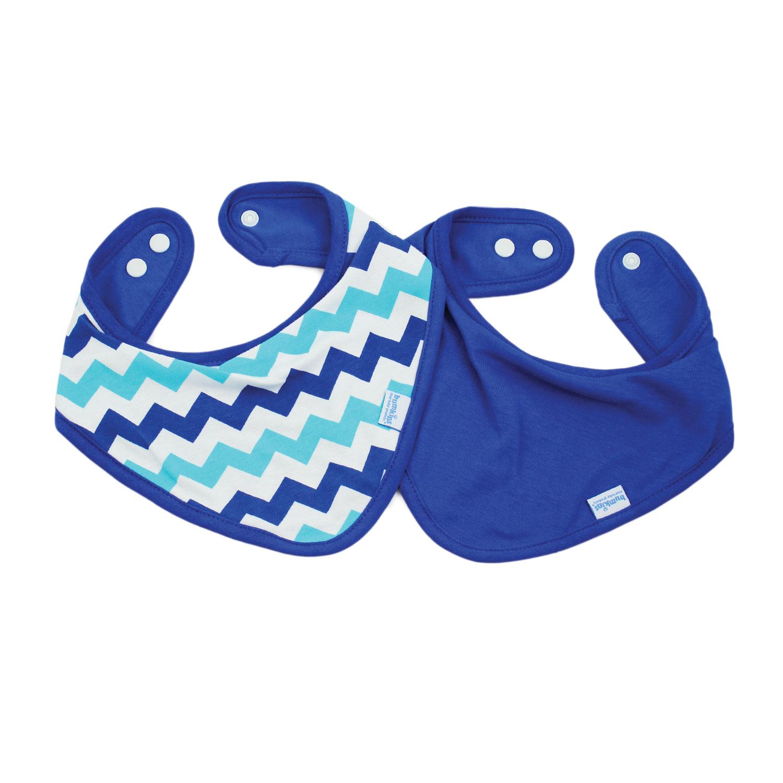 Bumkins ผ้ากันเปื้อน ชนิดผ้า cotton แบบกันน้ำ รุ่น Bandana Bib - สี Blue + สี Blue Chevron (2 ชิ้น)