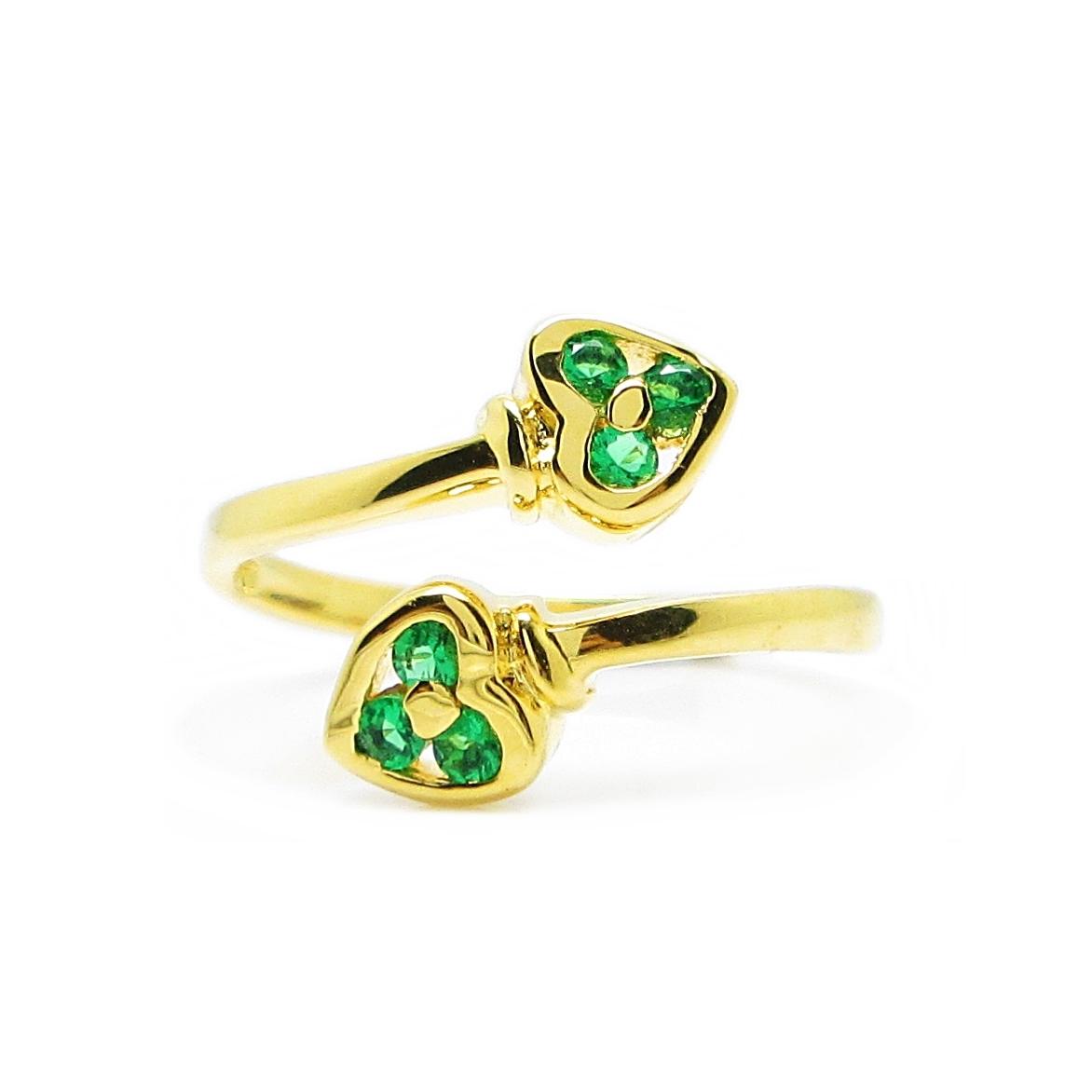 แหวนฟรีไซส์หัวใจประดับพลอยมรกตชุบทอง