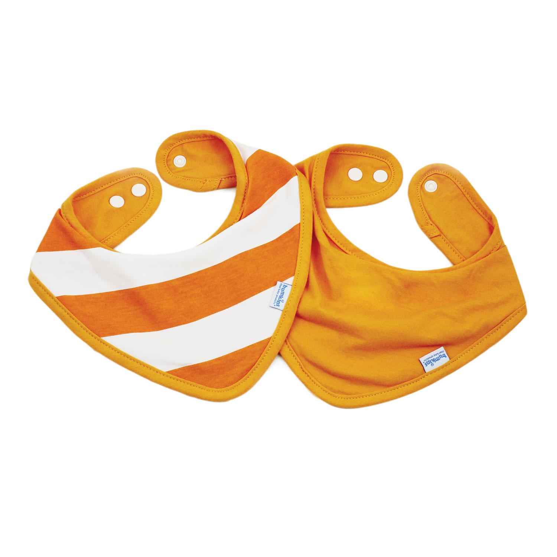Bumkins ผ้ากันเปื้อน ชนิดผ้า cotton แบบกันน้ำ รุ่น Bandana Bib - สี Orange + สี Orange Stripe (2 ชิ้น)