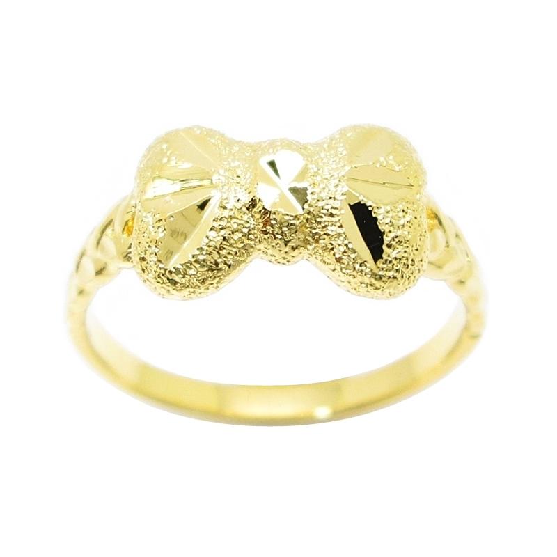 แหวนรูปโบว์ตัดลายจิกเพชรชุบทอง