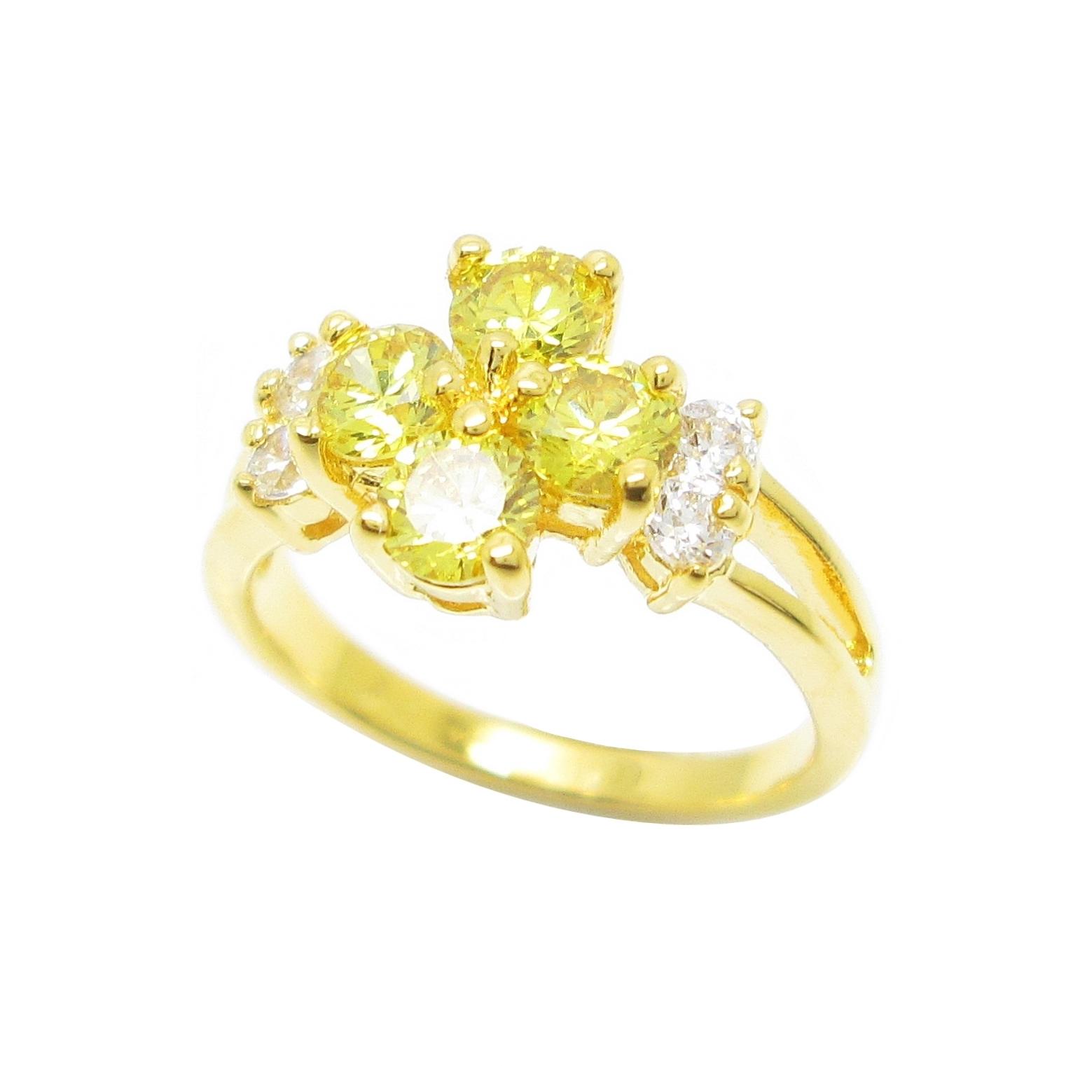 แหวนดอกไม้พลอยบุศราคัมประดับเพชรข้างชุบทอง