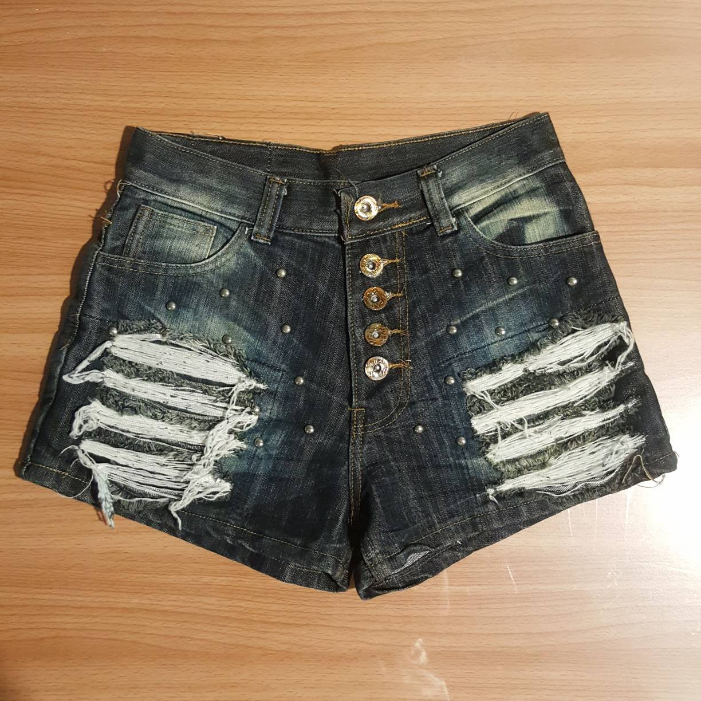 Cat Jeans สียีนส์เข้ม แต่งเฟด เอวสูง แต่งหมุดสีเงิน