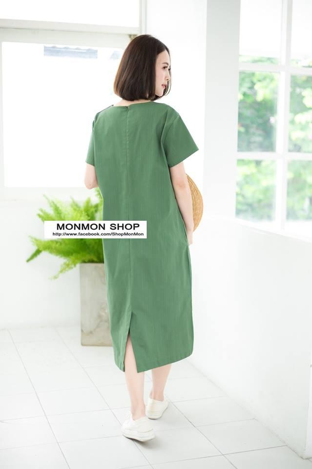 V-neck Short-sleeved Maxi dress_Green