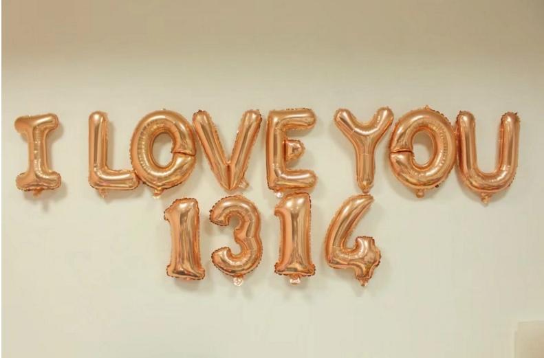 I LOVE YOU [ยกเซต] ขนาด 16 นิ้ว - สีแชมเปญ