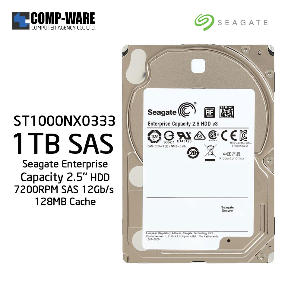 Seagate 1TB Enterprise Capacity 2.5'' HDD 7200RPM SAS 12Gb/s 128MB Cache Internal Hard Drive ST1000NX0333