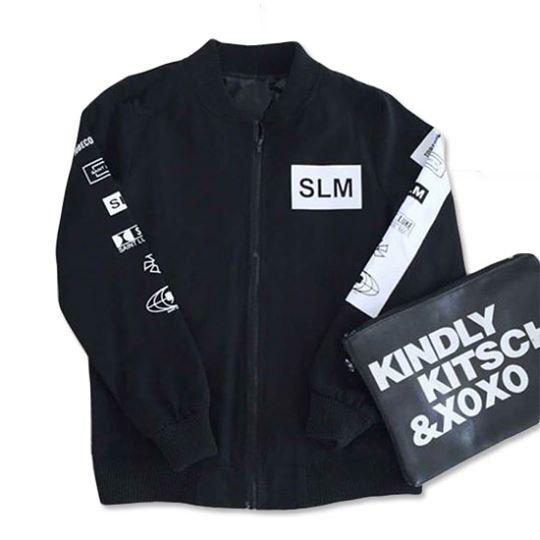 เสื้อแจ็คเก็ตผ้าหนาแขนยาว สีดำ
