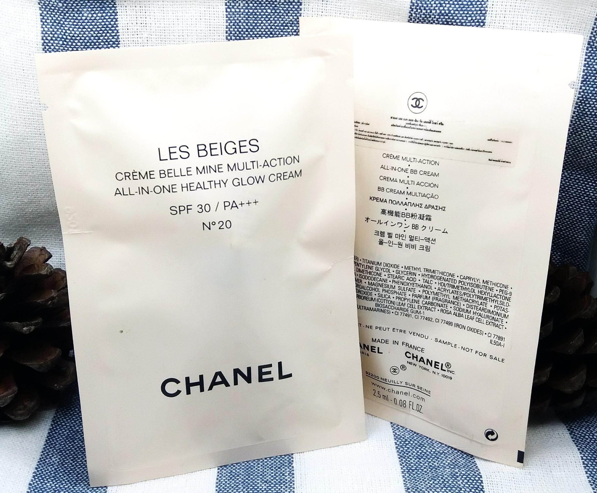 CHANEL Les Beiges All-in-one Healthy Glow Cream SPF30/PA+++ 2.5ml. สินค้าแท้ 100% #20 เฉดสีผิวขาวเหลือง ถึง ผิว 2 สี เปล่งประกายเป็นธรรมชาติ ผลิตภัณฑ์ที่เนื้อบางเบาแต่ให้การปกปิดแบบพอดีๆ ให้ผิวหน้าได้หายใจ ผิวโกลวๆนิดๆ เพราะนี่แหละ คือผิวของผู้หญิงยุคใหม่