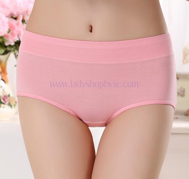 กางเกงในผ้าฝ้ายผสม สีชมพู