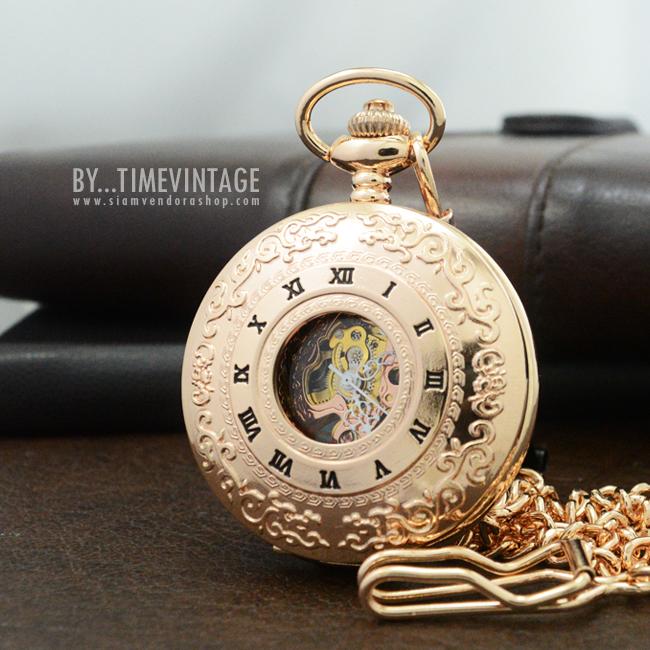 นาฬิกาพกไขลานลายเถาวัลย์โรสโกลด์ Archaize Rose Gold Carve Hollow Classic