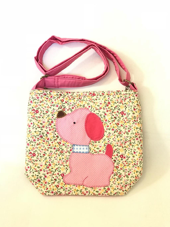 ** พร้อมส่งค่ะ ** กระเป๋าสะพายข้าง ลายหมาน้อย สีชมพู