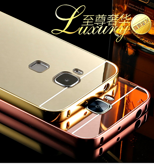 (417-001)เคสมือถือ Case Huawei G7 Plus เคสกรอบโลหะพื้นหลังอะคริลิคเคลือบเงาทอง 24K