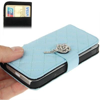 Case เคส Plaid Diamond Flower Button Flip iPhone 5 (Baby Blue)