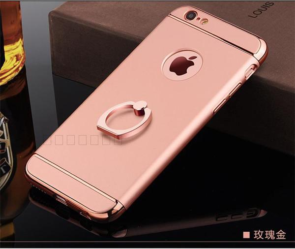 (พร้อมส่ง)เคสมือถือไอโฟน Case iPhone 6Plus/6S Plus เคสพลาสติกขอบทองแววติดแหวนโลหะ