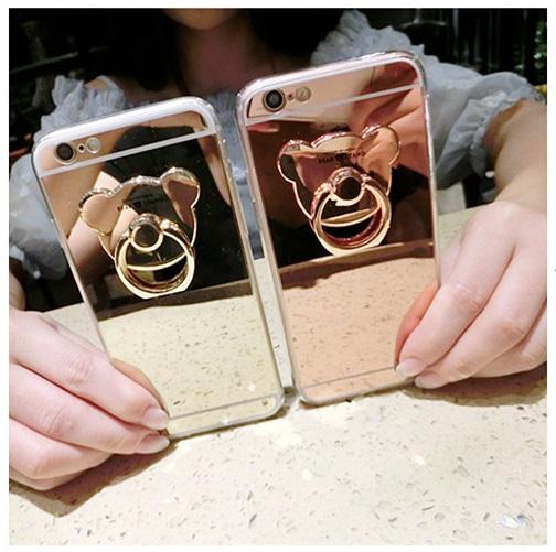 (025-706)เคสมือถือไอโฟน Case iPhone 7 Plus/8 Plus เคสขอบนิ่มพื้นหลังแววกึ่งกระจกมีแหวนมือถือรูปหมี