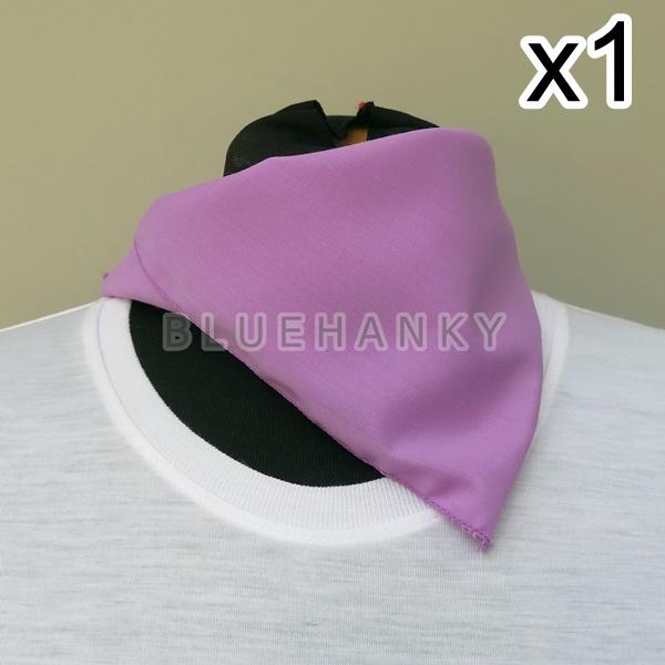 สีม่วงกลาง สี่เหลี่ยม53ซม ผ้าพันคอกีฬาสี ผ้าเช็ดหน้าผืนใหญ่