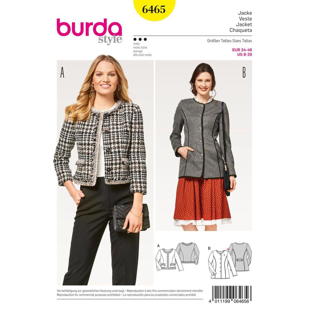 แพทเทิร์นตัดเสื้อคลุม ยี่ห้อ Burda Style (6465) ไซส์: 8-10-12-14-16-18-20
