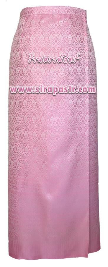 """ผ้าถุงป้ายข้าง สีชมพู (เอวใส่ได้ถึง 32"""") *รายละเอียดในหน้าสินค้า"""