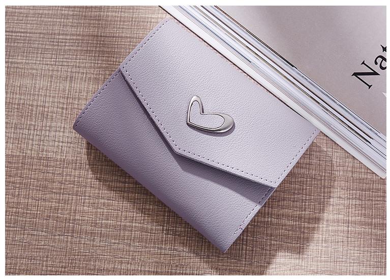 P102 กระเป๋าตังค์ Pastel Love สั้น สีม่วง