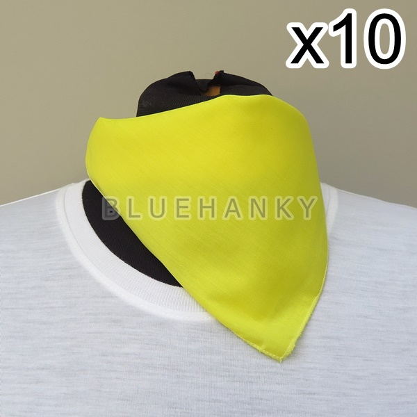 10ผืน สีเหลือง สี่เหลี่ยม53ซม ผ้าพันคอกีฬาสี ผ้าเช็ดหน้าผืนใหญ่